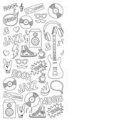 Vector doodle set with music hand drawn icons