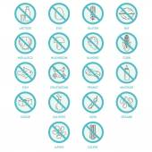 Allergen icons set of intolerance products.