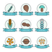 Food allergens in set of linear colored icons