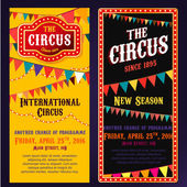 Vector vintage circus portrait banners in bright red yelow and black colors with illuminated elements Editable retro illustration useful for a poster flyer banner