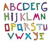 Hand drawn vector typeset Volumetric handmade letters Multicolored English alphabet in funny style on a white background Useful for creating children books covers educational and school designs