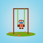 Beautiful children swing with a girl swinging Vector illustration in bright blue green brown and orange colours in cartoonish style