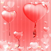Vector illustration of the heart ballon on the light pink background