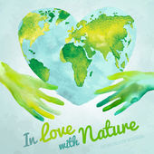 Vector watercolor hand drawn painted Illustration of environmentally friendly World map Think green and save the Earth Ecology and protection concept Globe watercolour vector image