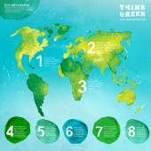 Vector watercolor hand drawn painted Illustration of environmentally friendly World map Think Green Ecology Concept in natural colors Infographic elements for poster brochure and leaflet design