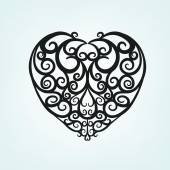 Beautiful vector illustration of a black decorative heart pattern in cute hand drawn style Editable image on a light gray background useful for postcard poster placard or invitation design