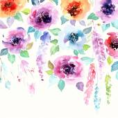 Floral background Watercolor floral bouquet Birthday card Floral decorative frame