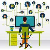 Web communication concept man at computer with contact icons vector illustration