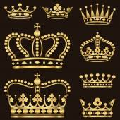 Set of ornate gold crowns  Colors in gradients are just a few global swatches so file can be recolored easily  Each crown is grouped individually for easy editing