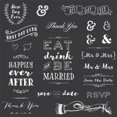 Collection of chalk wedding typography messages and graphics