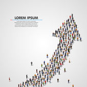 Large group of people in the shape of an arrow Vector illustration