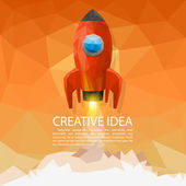 Space rocket launch 3d polygon Vector illustration