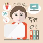 Tajemník vektorové ilustrace s obchodní ikony a počítač