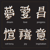 Vector set :kanji with translation