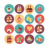 Alcoholic drinks and beverage icon collection Flat vector circle icons set with long shadow Food and drinks