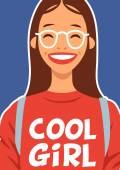 Picture cool school girl with glasses poster