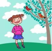 Lány hallgatja a madarak
