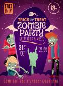 Zombie party poster with trick or treat symbols cartoon vector illustration