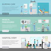 Health care horizontal banners with patients at clinic interior and nurses performing medical procedures flat vector illustration
