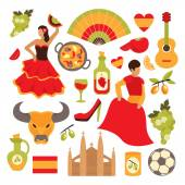 Spain travel tourist attractions icons set isolated vector illustration