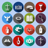 Christianity traditional religious symbols flat icons set with cross bible goblet isolated vector illustration