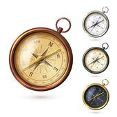Antique retro style metal  compass set isolated on white background vector illustration