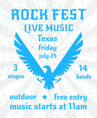 Rock fest live music party elevated wings eagle silhouette emblem freedom symbol poster invitation abstract vector illustration