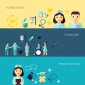 Nurse service primary health care banner set isolated vector illustration
