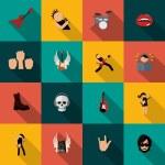 Постер, плакат: Rock music icons flat