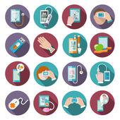 Set di icone di sanità digitale di illustrazione vettoriale di tasca terapeuta pressione sanguigna monitor isolato