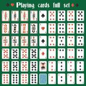 Casino poker hazard playing cards full set isolated vector illustration
