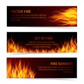 Burning fire campfire hot flame strokes realistic horizontal banner set isolated vector illustration