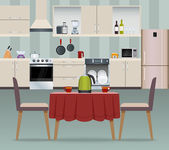 Kitchen interior modern home food cooking and dining room realistic poster vector illustration