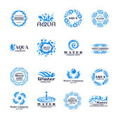 Water company aqua mineral logo set with blue waves isolated vector illustration