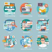 Plochý ikonu SEO Internet Marketing