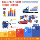 Truck infographic set with delivering and shipping transport and charts vector illustration