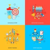 Coaching design concept set with achieving victory motivation to success sports training and coaching flat icons isolated vector illustration