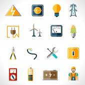 Electricity icons set with tester engineer socket electric power equipment isolated vector illustration