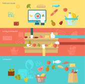 Supermarket banner flat set with online purchase buying elements isolated vector illustration