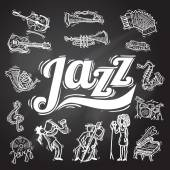 Jazz music decorative icons chalkboard set with instruments musicians and vinyl isolated vector illustration