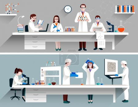 Постер, плакат: Scientists In Lab Concept, холст на подрамнике