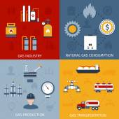 Natural raw gas industry production transportation and consumption 4 flat icons composition design abstract isolated vector illustration