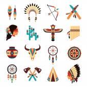 Etnické amerických domorodých ikony nastavit