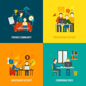 Coworking space center design concept set with friendly community professional support independent activity flat icons isolated vector illustration