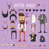 Hipster master accessories constructor with sets of fake mustaches sun glasses and footwear abstract flat vector illustration