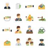 Korruption-Icons flach