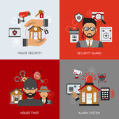 Security design concept set with house thief guard and alarm system flat icons isolated vector illustration