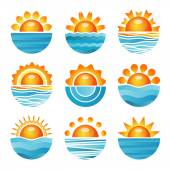 Sunset with sea waves and horizon round orange blue icons set flat isolated vector illustration