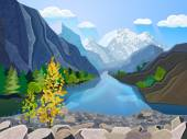 Quality landscape wallpaper summer mountain range with river and golden tree  picturesque poster print abstract vector illustration