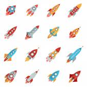 Flying bright space rocket icons set with launch and fire flat isolated vector illustration